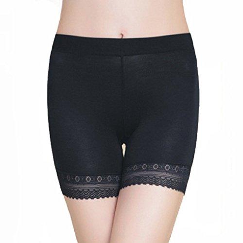 Damen Unterwäsche Slip Unterhosen Sicherheits Shorts Unterwäsche Kurz Leggings Panties Softe Spitze Hipster Pantys, Schwarz,  (Kurze Damen-unterwäsche)
