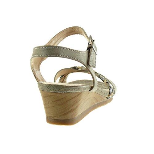 Angkorly Scarpe Moda Sandali Mules Donna Tanga Intrecciato Lucide Tacco Zeppa 5 cm Grigio