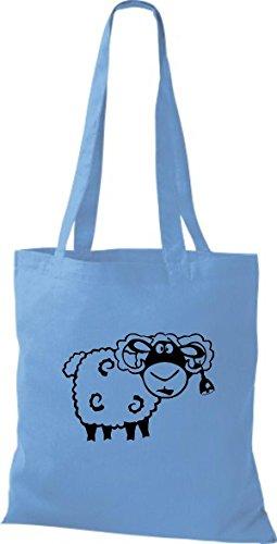 Shirtstown Stoffbeutel Tiere Schaf Schäfchen Hellblau