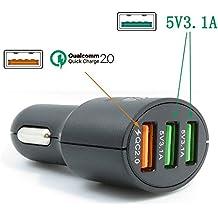 Xingdongchi - Adaptador cargador para coche, tecnología Quick Charge 2, 36 W, 3 puertos USB, admite QC 2.020V/1A 12V/1.5A 9V/2A 5V/2.4A, para Apple y dispositivos Android 3 Port Usb Car Charger