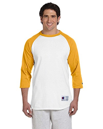 Champion 5.2 OZ. Raglan Baseball T-Shirt, Medium, White/C Gold (Baseball Gold Womens)