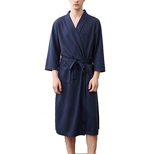 Mini Balabala Morgenmantel Langarm Kimono Damen Nachthemd Nachtwäsche Pyjama Bademantel Sexy saunamante Sommer, Navy Blau, 3XL (Pflege-langarm-nachthemd)