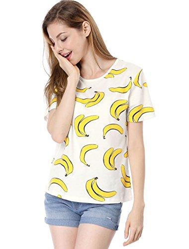 Allegra K Damen Kurzarm Rundhals Banane Muster Top Tshirt Weiß M (EU 40) -