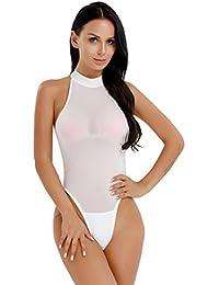 a78e72c156 Freebily Body String Femme Justaucorps Collant Bodysuit Transparent Zippé  Col Haut Extensible Débardeur Leotard Ouverte Combinaisons