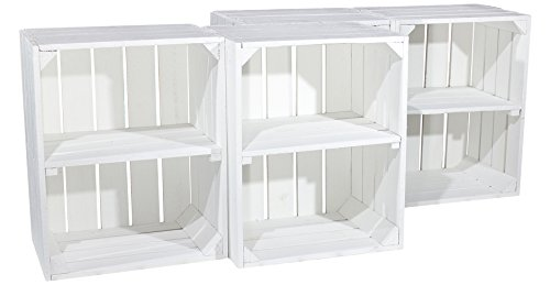 Land Möbel Lagerung (Weiße Regalkiste mit Boden -quer- als Bücherregal (3er Set))