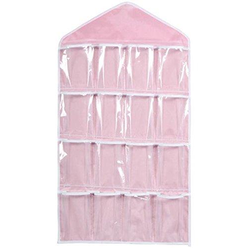 Berrose 16 Taschen Klare Hängesack Socken BH-Unterwäsche Rack-Aufhänger Speicherorganisator Transparent Kleiderschrank Taschen Klar HäNgenden Beutel Rack KleiderbüGel Aufbewahrungstasche