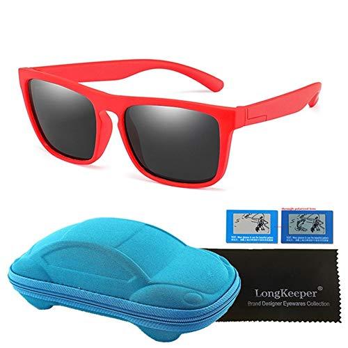 Wang-RX Quadratische polarisierte Kindersonnenbrille-Beschichtungs-Spiegel-Silikon TR90 Schutzbrillen-Kind-Kasten UV400