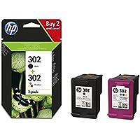 HP 302 Multipack Original Druckerpatronen (Schwarz, Farbe) für HP Deskjet 1110, 2130, 3630; HP OfficeJet 3830, 4650; HP ENVY 4520