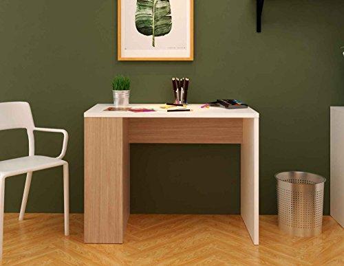 Scrivania In Legno Bianco : Tg cm samblo midori scrivania con scaffale legno bianco