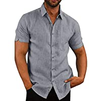 Mens Button Down Short Sleeve Shirts Fishing Tops Slim Fit Casual Tees Plain Summer Blouses Grey