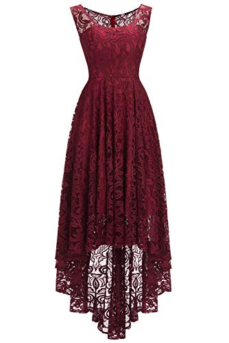 Babyonlinedress® Mode Damen Kleid Brautjungfernkleid Vorne Kurz Hinten lang Spitzenkleid Ärmellos Cocktailkleid Weinrot 36 -