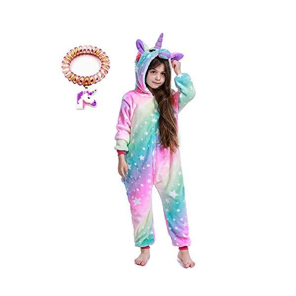 LANTOP - Pijama mono de unicornio para niñas, ideal como regalo de Navidad o Halloween, o como disfraz de cosplay 1