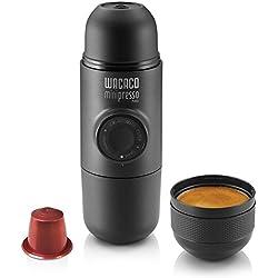 Wacaco Minipresso NS, máquina de café espresso portátil, compatible con cápsula NS Nespresso cápsulas originales y compatibles, cafetera de viaje pequeña, con accionamiento manual de acción de pistón