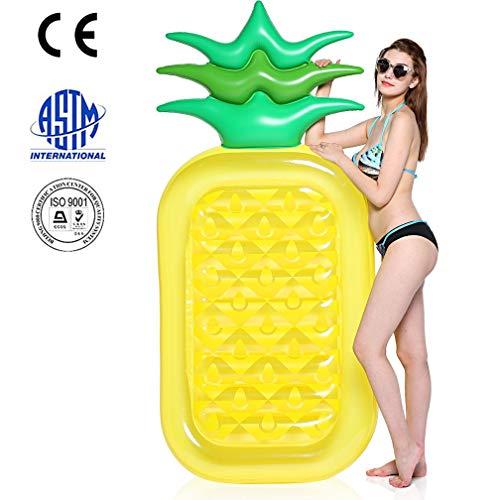 SanXingRui Aufblasbare Ananas Luftmatratze, Aufblasbarer Ananas Luftmatratze Pool Lounger Schwimmgerät Spielzeug Party für Erwachsene & Kinder (GelbF)