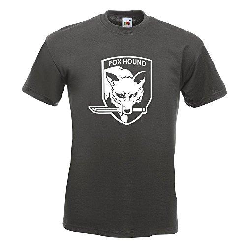 KIWISTAR - Fox Hound Motiv2 T-Shirt in 15 verschiedenen Farben - Herren Funshirt bedruckt Design Sprüche Spruch Motive Oberteil Baumwolle Print Größe S M L XL XXL Graphit
