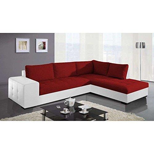 Justhome paris divano angolare divano letto finta pelle in tessuto (lxlxa): 212x282x88 cm bianco rosso penisola a destra