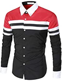 BUSIM Men's Long Sleeved Shirt Patchwork Shirt Casual Color Matching Slim Striped Print T-Shirt Jacket Multi Color...
