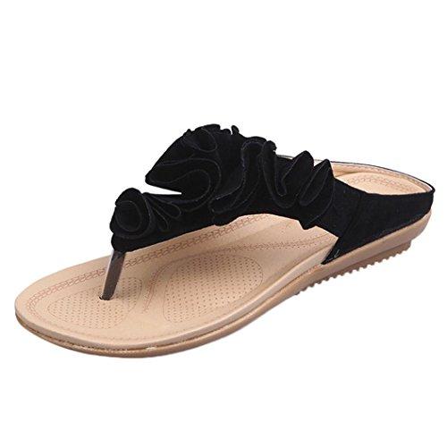 FNKDOR Frauen Sommer Flipflop Flache Schuhe Damen Zehentrenner Blumen Sandalen (36, Schwarz)