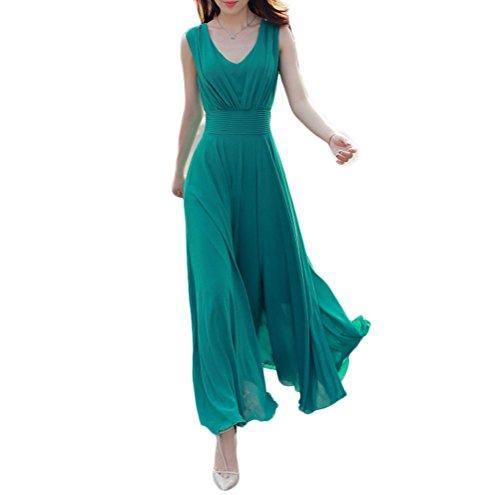 Nanxson(TM) Robe De Soirée Longue En Mousseline Col V Pour Femmes LYQ0195 Vert