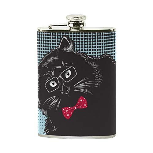 Lafle schwarze Katze mit Brille und Fliege, aus Edelstahl und PU-Leder für Herren, tragbar, für Whiskey und Camping, Wandern, Outdoor-Sport, 227 ml