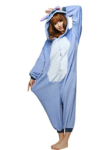 Amour-Tier Onesie Pyjama Blau Stich Kostüme Schlafanzug Erwachsene Unisex Tieroutfit tierkostüme Jumpsuit (l, Lilo & (Lilo Kostüm Stitch)