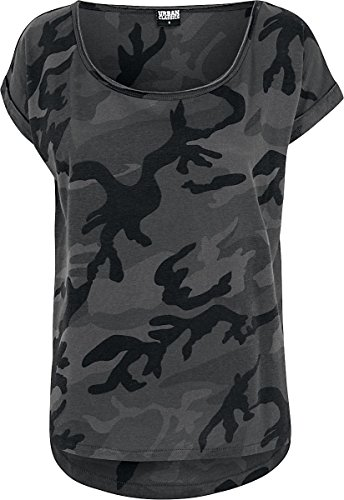 Urban Classics Damen T-Shirt Ladies Camo Back Shaped Tee, Dark Camo, Large (T-shirt Urban Camouflage)