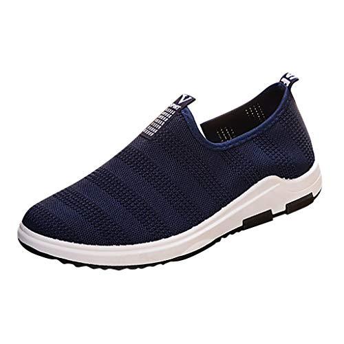 Sportschuhe für Herren/Skxinn Männer Slip On Sneaker Laufschuhe, Fitness Casual Turnschuhe Ultraleichte Mesh Atmungsaktive Straßenlaufschuhe Outdoor Mode Freizeitschuhe Ausverkauf(Blau,40 EU) -