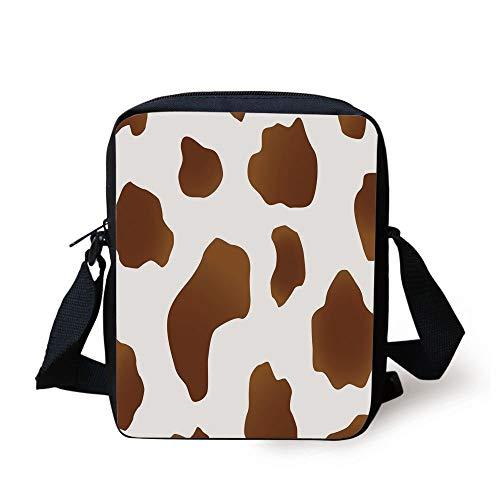 Cow Print,Brown Spots on a White Cow Skin Abstract Art Cattle Fur Farm Animals Cowboy Barn Decorative,White Brown Print Kids Crossbody Messenger Bag Purse -