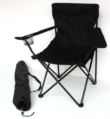 Anglersessel, Campingstuhl - klappbar mit Getränkehalter und Tragetasche - schwarz