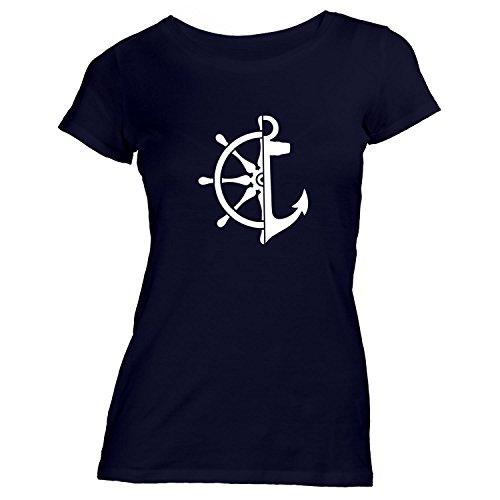 Damen T-Shirt - Anker Steuerrad - Maritim See Meer Schiff Schwarz