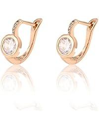 xuping Bijoux–Boucles d'Oreilles Plaqué Or Rose incrusté oxyde de zirconium brillant Pierre
