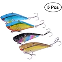 VORCOOL 5 UNIDS Pesca Duro VIB Metal Wobble Fish Señuelos Cuchara Señuelo Feather Bait Hook