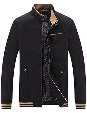 Hombre Casual Chaqueta Clásico Abrigo Jacket de Cremallera Mangas Larga Top Outwears