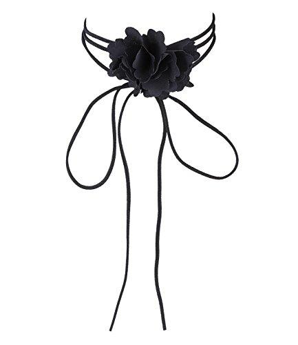 skette in Wildleder-Optik mit schwarzer Rose, perfekt als Gothic-Schmuck oder zu romantischen Outfits, schwarz (741-489) ()