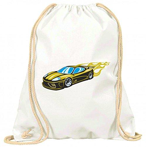 'Turn Bolsa 'Schöner coche deportivo amarillo con llamas amarillas Modena America Amy Estados Unidos Auto Car Lujo de ancho diseño V8V12Motor Llanta Tuning Mustang Cobra con cordón–100% algodón de bolsa Con Asas De Mochila de bolsa de deporte, Weiß