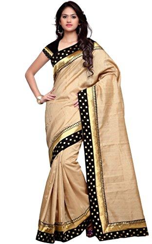 EthnicJunction Women's Banarasi Silk Saree With Blouse (Beige_EJ1151-10006)