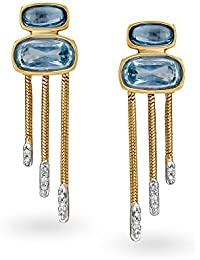 Mia by Tanishq 14KT Two Colour Gold, Diamond and Topaz Drop Earrings for Women