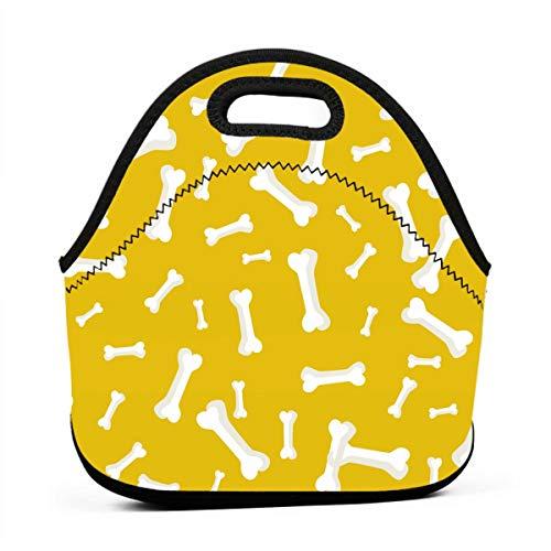 Kinder Lunchtaschen für Mädchen - Hund Knochen auf gelbem Hintergrund billige Taschen für Frauen 3D Druck Lunchbox Lebensmittelbehälter Picknicktasche Tragetasche Handtasche -
