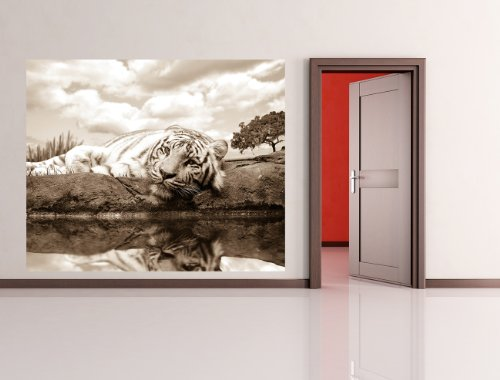 Fototapete selbstklebend White Tiger - sephia 120x100 cm - Wandtapete - Poster - Dekoration - Wandbild - Wandposter - Bild - Wandbilder - Wanddeko (White Wandtattoo Tiger)