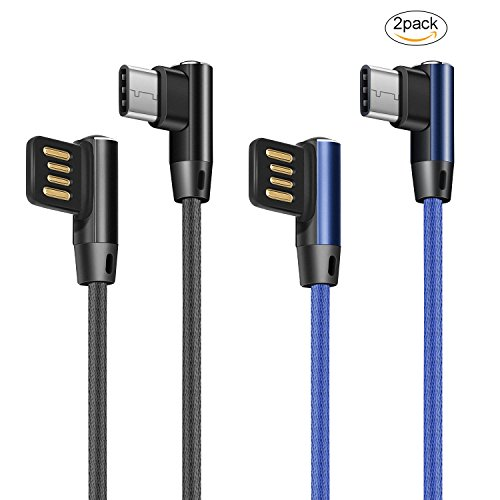 Ehpow USB Type C Kabel, Fast Charge Kabel, Doppelseitiges USB und doppelseitiges 90 Grad Ellenbogen Interface USB Type C Kabel für Samsung Galaxy Huawei Honor Nexus LG Lumia (2 Stück-1M)