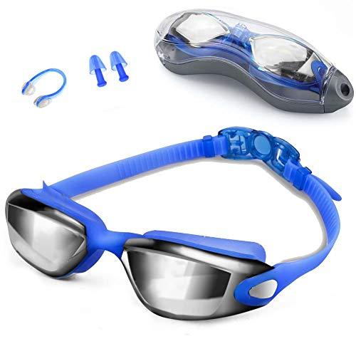 Zerhunt Schwimmbrillen für Erwachsene, Schwimmbrille mit Antibeschlag und UV Schutz, Ohrstöpsel & Nasenklammern mitgeliefert, für Männer Frauen(Blau)