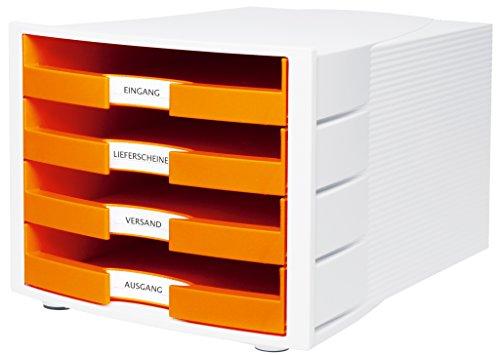 HAN Schubladenbox IMPULS in Orange/Weiß / Stapelbare Sortierablage mit 4 großen, offenen Schubladen für DIN A4/C4 / inkl. Beschriftungsschilder -