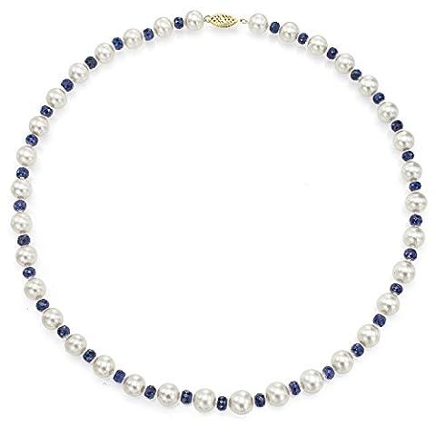 Or jaune 14K 8–8.5mm Blanc perle de culture d'eau douce 4mm imitation saphir bleu Collier, 45,7cm