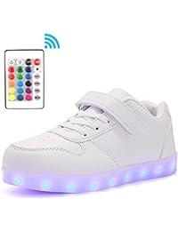 Voovix Unisex-Kinder Licht Schuhe mit Fernbedienung Led Leuchtende Blinkende Low-top Sneaker USB Aufladen Shoes für Mädchen und Jungen