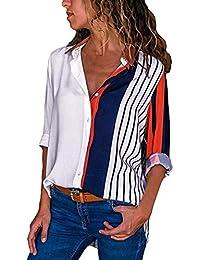 Maglione da Donna Elegante T Shirt A Ragazza Lunga Manica con Scollo A V  Stampa Allentata Casual 72460d782b5