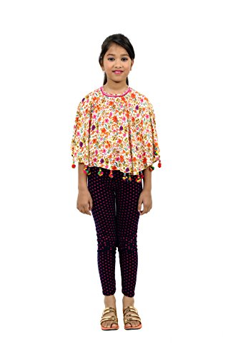 RIBBON N FRILL Multicolor Flower Printed Girls Wear Reyon Top / Kaftan RNF-054-(4-5 Years)