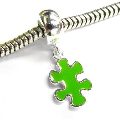 Argento Sterling 925autismo consapevolezza Puzzle Game piece smalto verde per braccialetti Charm per braccialetti