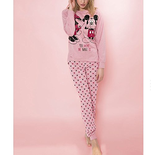 Pijama Ranglan Love You Mickey, Color Burdeos, Talla L