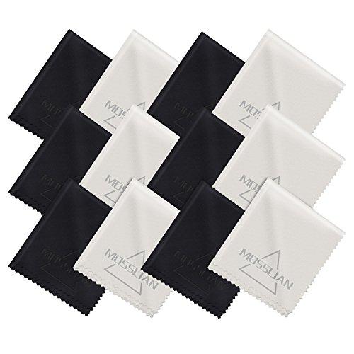 Brillenputztuch: MOSSLIAN Mikrofaser Reinigungstücher Ideal für die Reinigung von Gläsern, Brille, iPad, Tablets, Notebook, Touchscreen Display, Smartphone, Glas, LCD-Bildschirmen und anderen empfindlichen Oberflächen (6 black+6 gray)