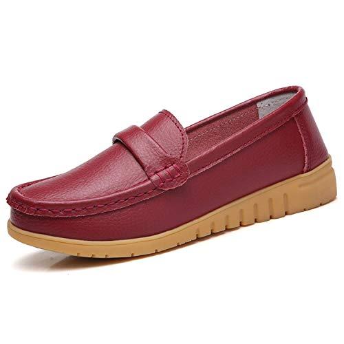 GAXmi Mocasines de Cuero Mujer Loafers Zapato Plano Verano Primavera Otoño Rojo Tamaño 42/260, 41...